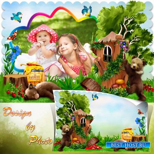 Детская рамка с медвежатами - Лесная полянка