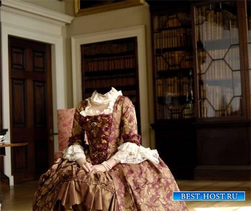 Шаблон для фотошопа - Герцогиня в комнате в платье