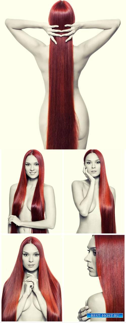 Обнаженная девушка с длинными волосами / Naked girl with long hair - Stock  ...