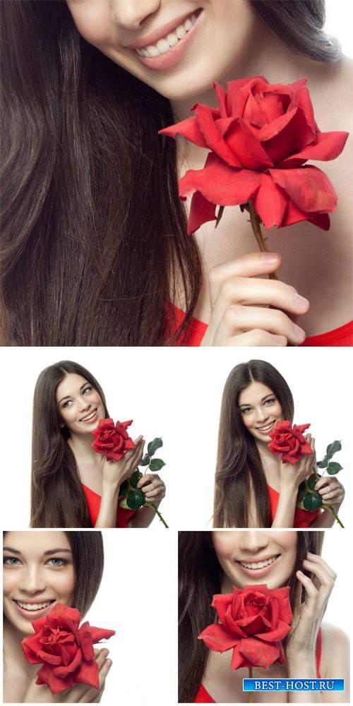 Красивая девушка с розой / Beautiful girl with rose - Stock Photo
