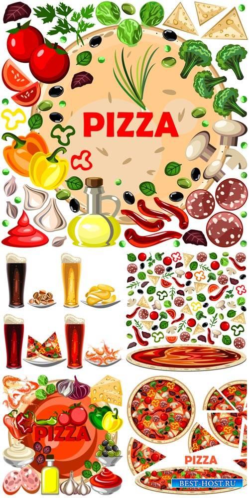 Пицца, ингридиенты для пицци в векторе / Pizza ingredients for pizza vector