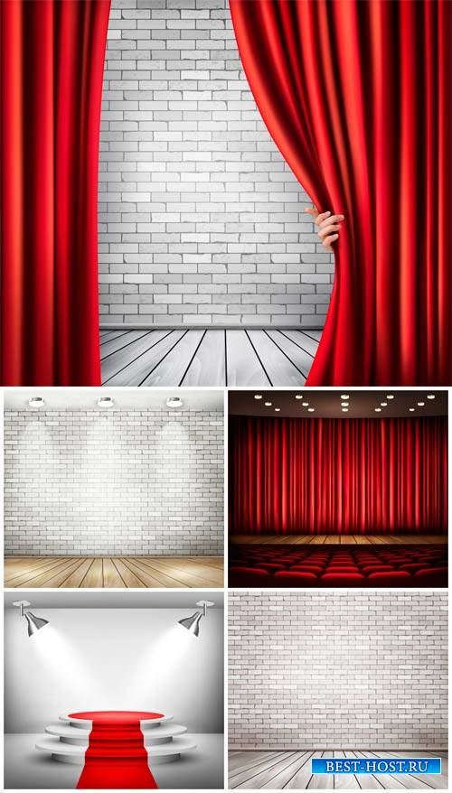 Сцена и занавес, подиум в векторе / The stage and the curtain podium vector
