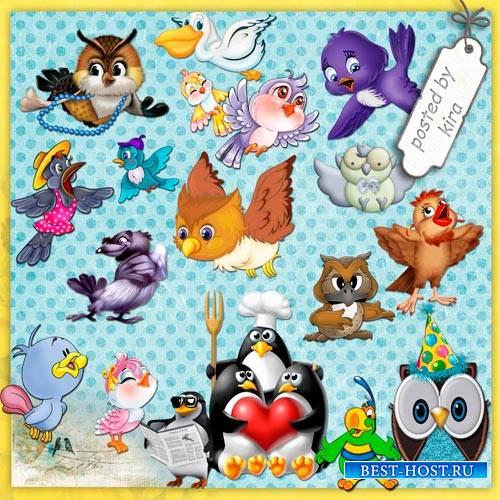 Клипарт  - Забавные милые птички на прозрачном фоне