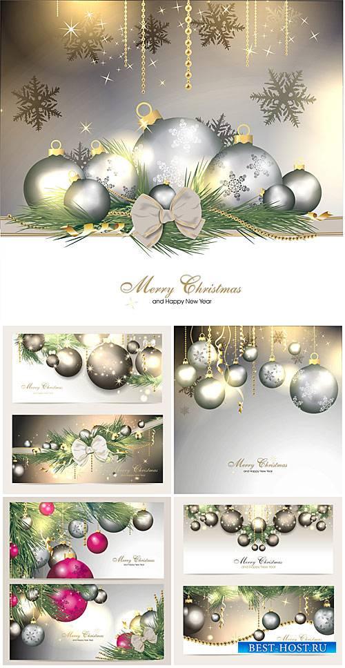 Рождественский вектор, новогодние игрушки и снежинки / Christmas vector