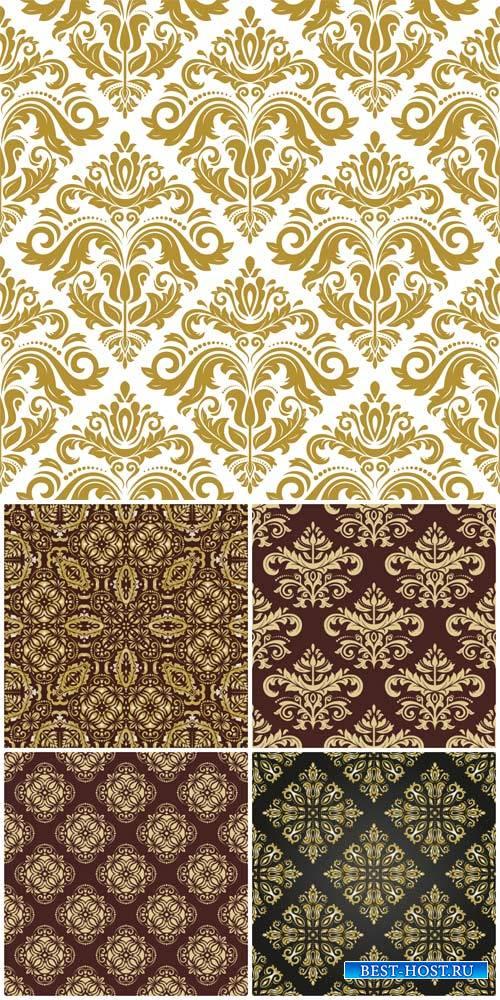 Векторные текстуры, фоны с золотыми узорами, винтаж / Vector textures