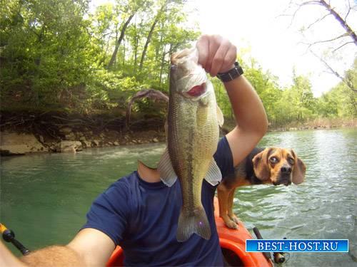Шаблон мужской - Рыбалка с собакой