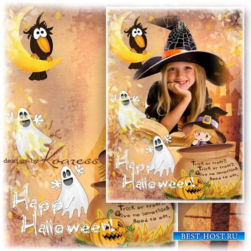 Рамка для фотошопа с тыквой Джеком, привидениями и другими атрибутами Хэлло ...