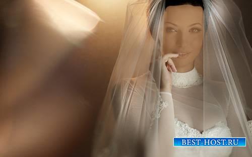 Невеста в белом платье - шаблон для фотошопа