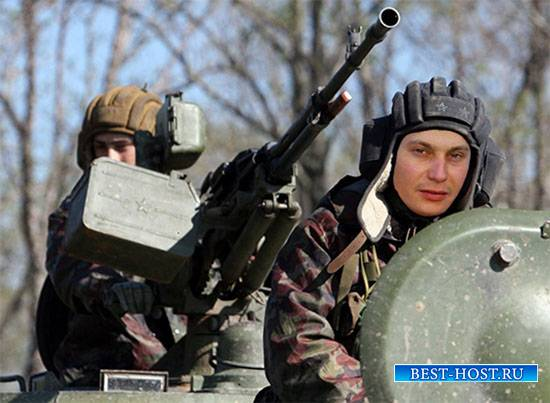 Мужской фотошаблон - Командир танка