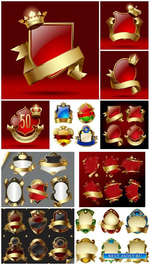 Золотые эмблемы в векторе, этикетки / Gold emblem vector, labels