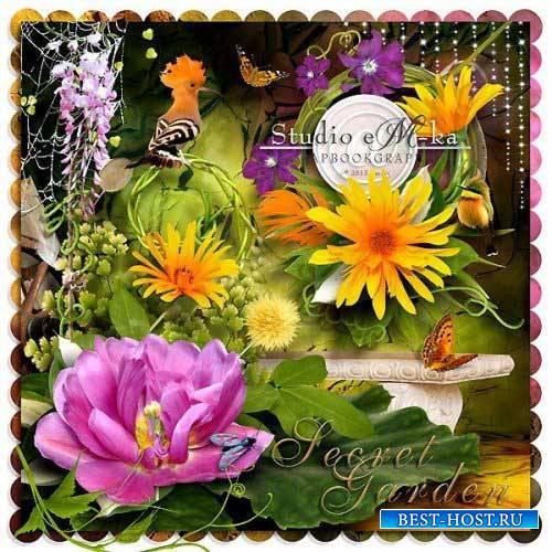 Цветочный скрап-комплект - Таинственный сад