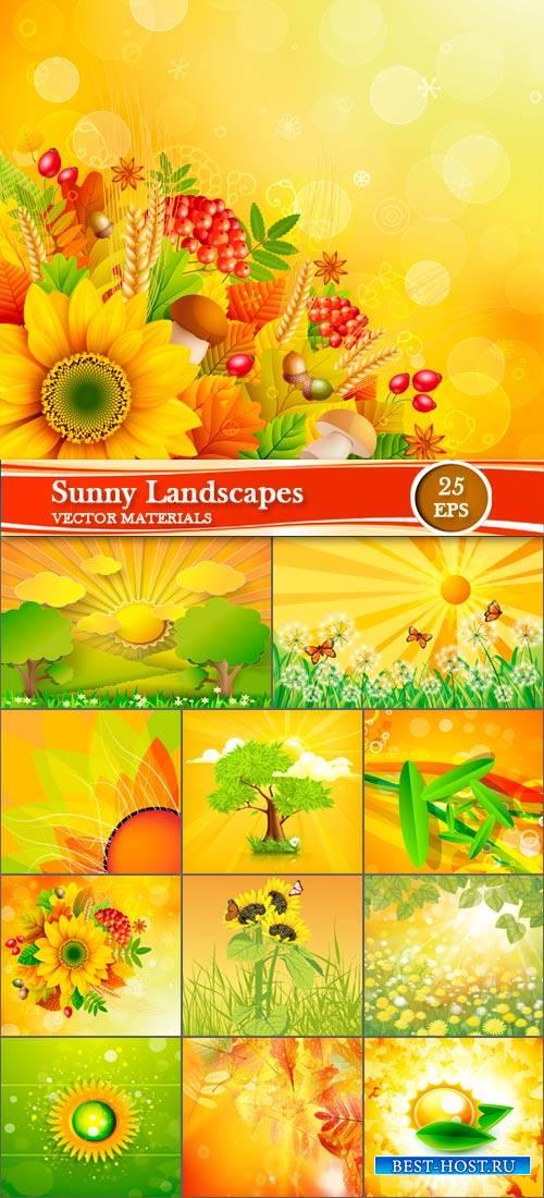 Векторные фоны - Солнечные пейзажи и природа