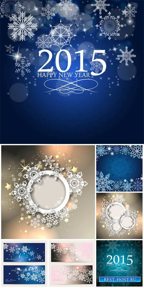 Christmas vector, silver and blue background with snowflakes