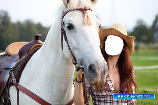 Женский фотошаблон - Красивая ковбойша