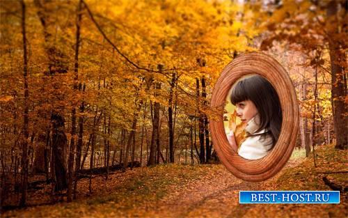 Осенью в парке - Рамка для фотомонтажа