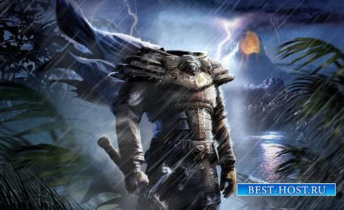 Шаблон для Photoshop - Таинственный воин в доспехах
