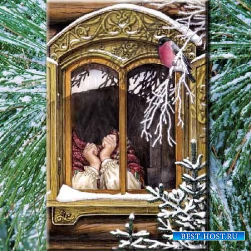 Детский шаблон - Снегири на ветке