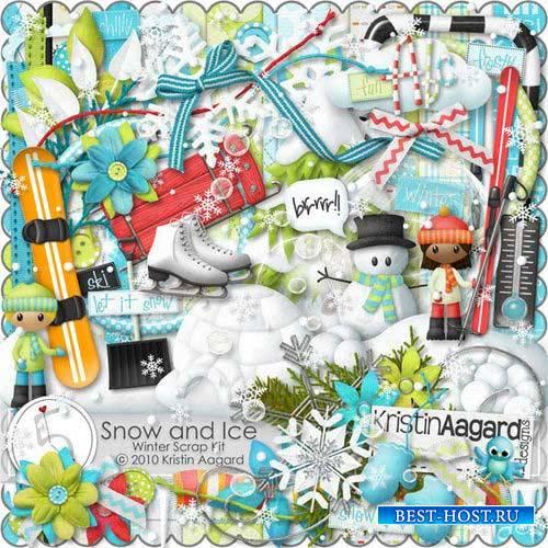 Зимний скрап-комплект - Снег и лед