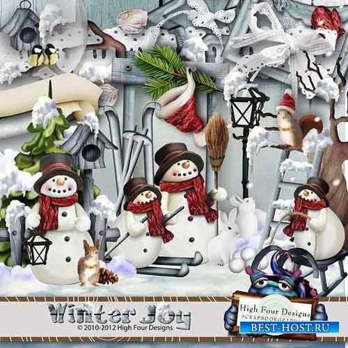 Рисованный зимний скрап-комплект - Зимняя радость