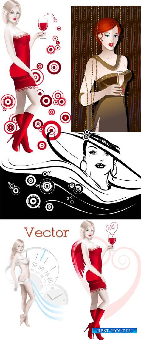 Подборка векторного клипарта – Красивые девушки с бокалом вина