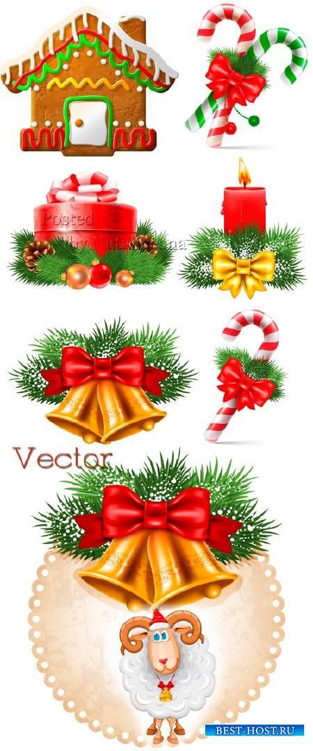 Новогодняя подборка векторного клипарта с печеньем, подарками и Овечкой