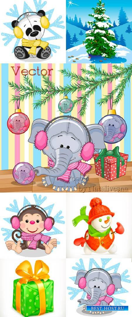 Подборка детского векторного клипарта – Новогодние зверята со снежинками