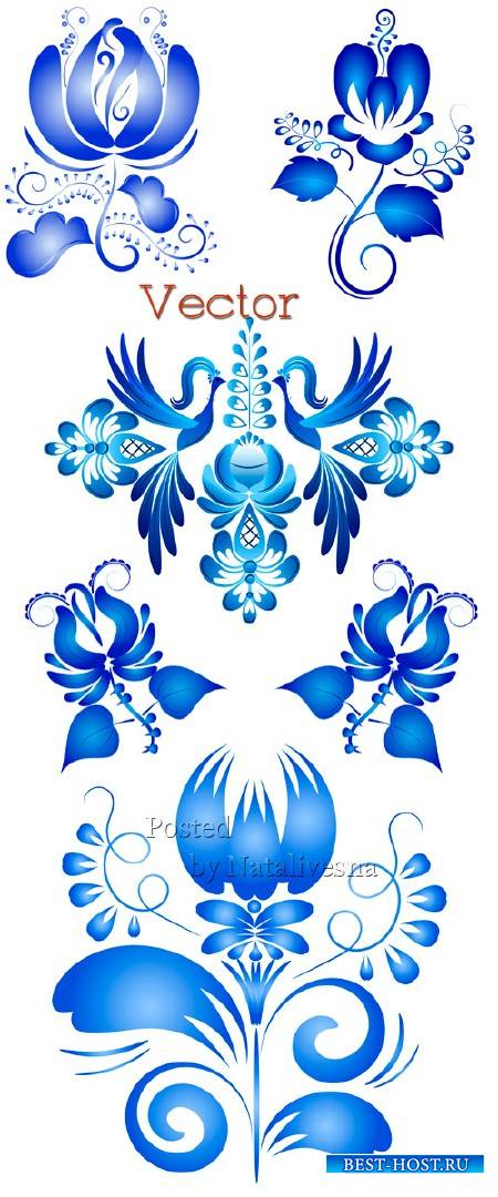 Декоративные узоры для дизайна в Векторе – Красивая Гжель