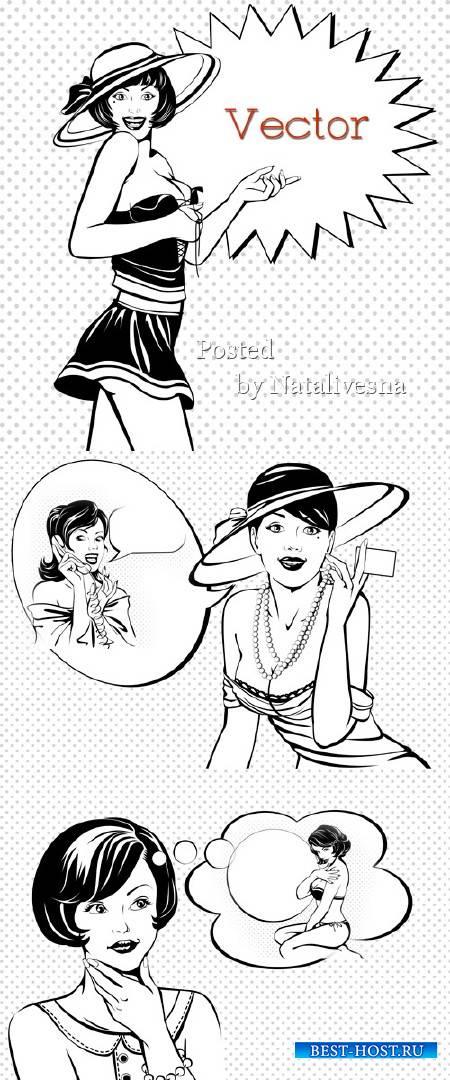Подборка черно – белого векторного клипарта – Изящные дамы  в шляпах