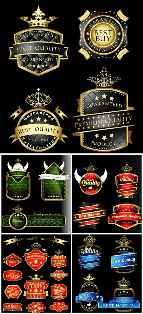 Stylish vector label with golden decor