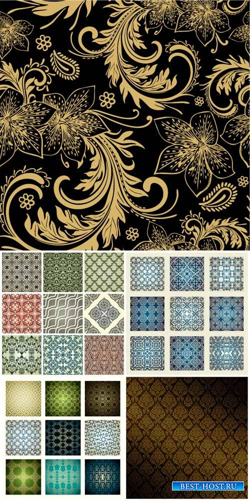 Texture, vector backgrounds with floral patterns, vintage