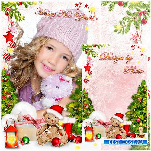 Новогодняя детская фоторамка с ёлочкой и медвежонком