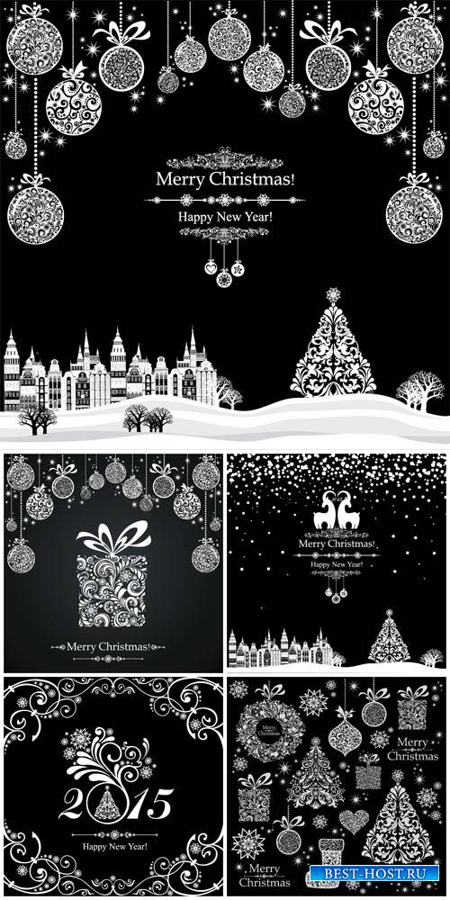 Christmas vector in black and white