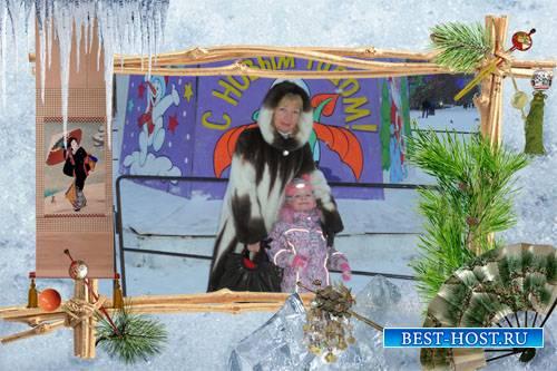Рамочка женская для зимнего фото в японском стиле