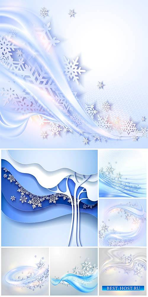 Winter vector background with snowflakes and abstraction