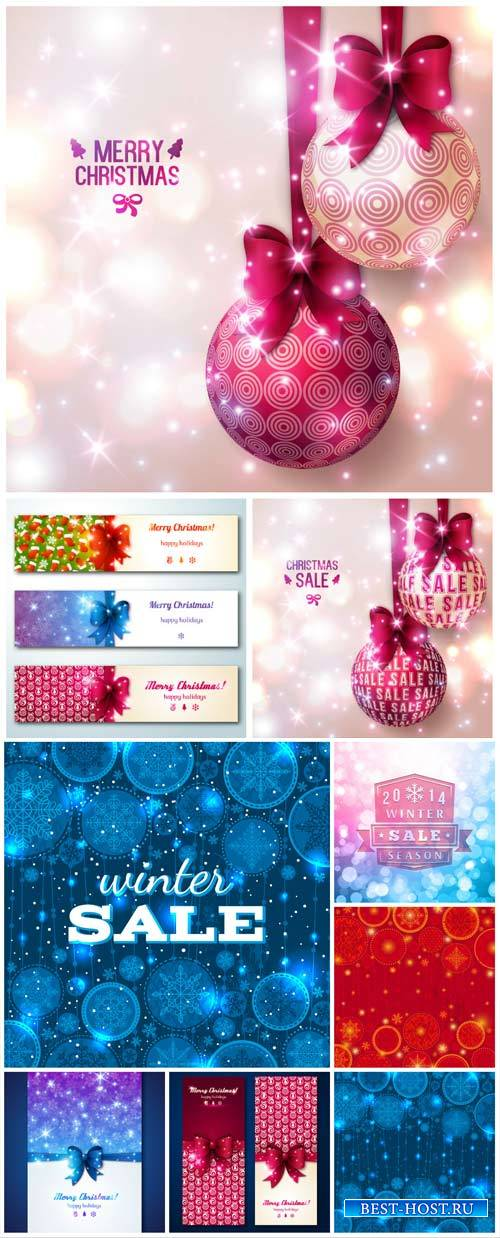 Christmas vector backgrounds and banners with Christmas discounts