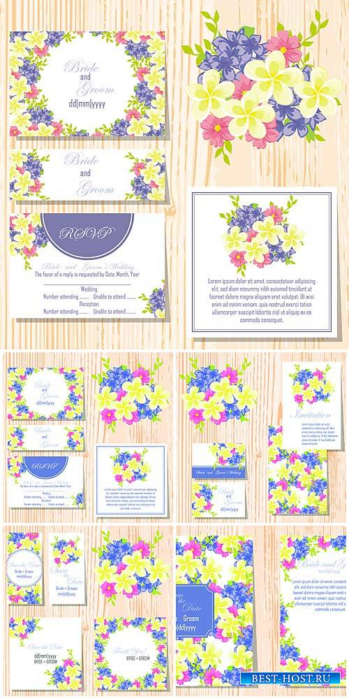 Wedding invitation vector, backgrounds and cards with flowers