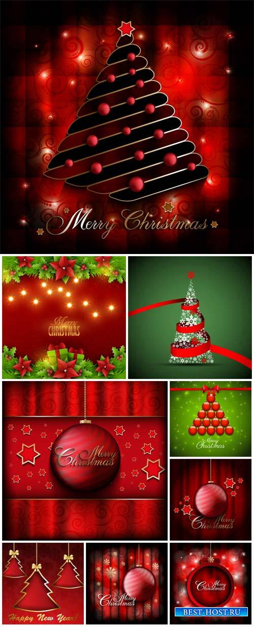 Christmas vector, red and green backgrounds with Christmas trees and Christ ...