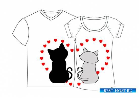 Принты для парных футболок «Кошки»