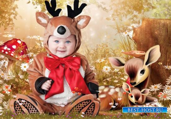 Шаблон  детский - Оленята - малыши