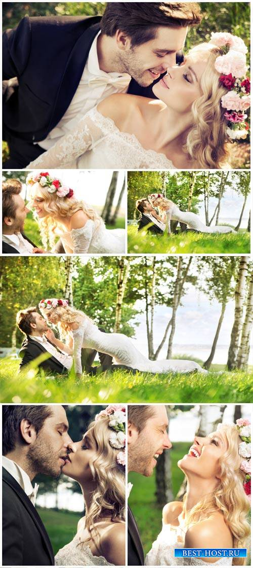 Loving couple on nature, birch grove - Stock Photo