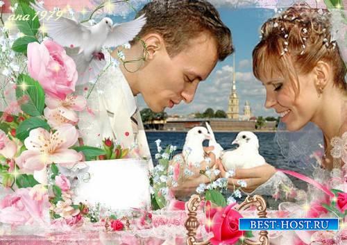 Свадебная рамка для фотошопа - Любовь в сердцах