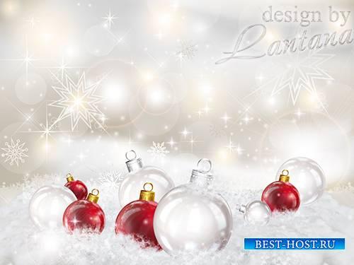Psd исходник - Новогодние шары в снегу