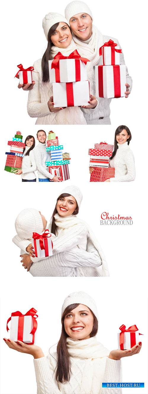 People and Christmas gifts - stock photos