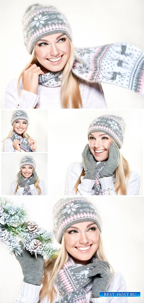 Beautiful blonde girl in hat and scarf - winter stock photos