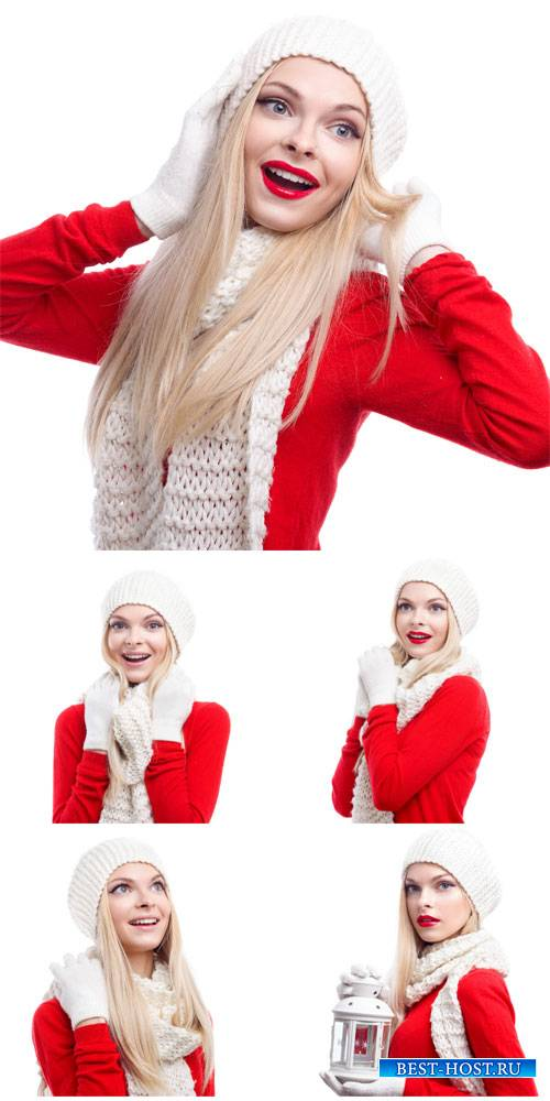 Girl in red blouse - winter stock photos