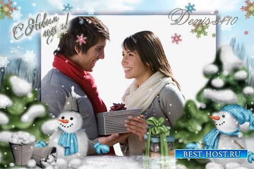 Новогодняя рамка для фото - Снеговики