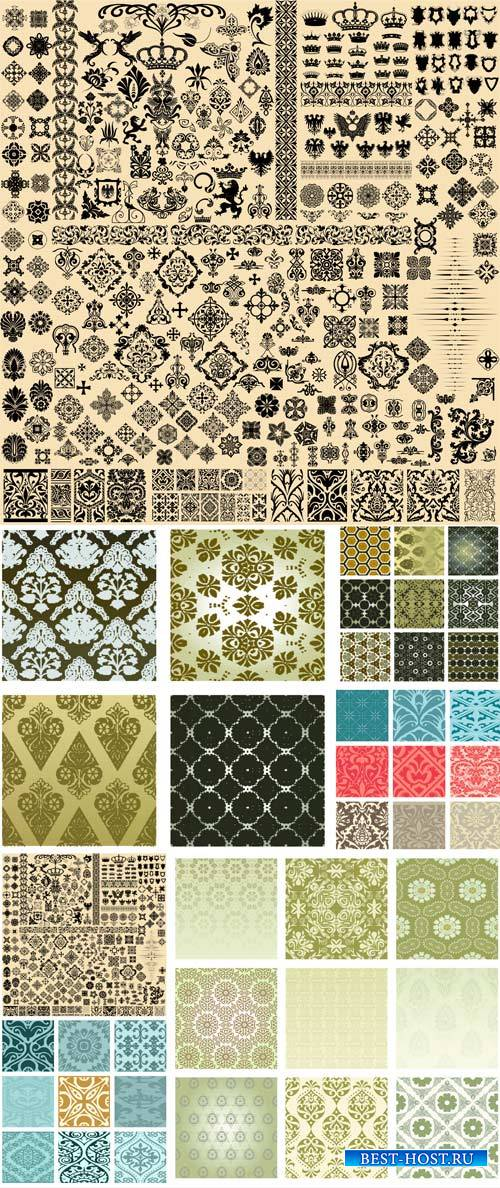 Patterns and ornaments vector, vintage design elements