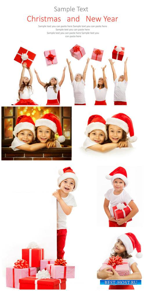 Children and the New Year, Christmas gifts - stock photos