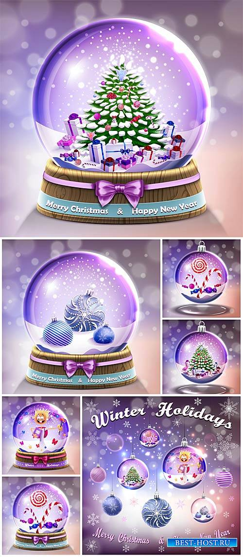 Christmas glass balls with Christmas elements vector