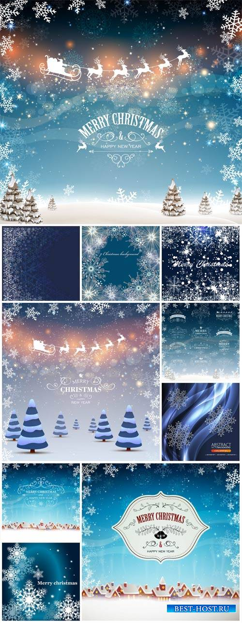 Christmas, new year, winter background with Santa deer vector